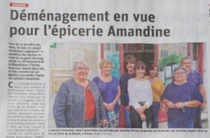 L'épicerie Amandine va bientôt déménager.